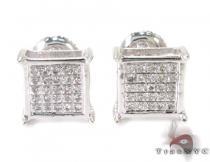 Silver Mini 3D Square Earrings 27239 Metal