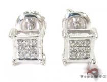Silver Mini 3D Square Earrings 27240 Metal