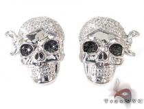 Silver Pirate Skull Earrings 27242 Sterling Silver Earrings