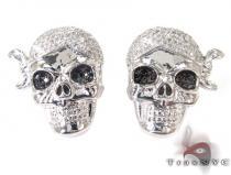 Silver Pirate Skull Earrings 27242 Metal