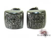 Black Diamond Square Stud Earrings 27283 Sterling Silver Earrings