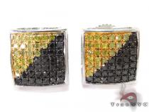 Black and Yellow Color Diamond Square Earrings Sterling Silver Earrings