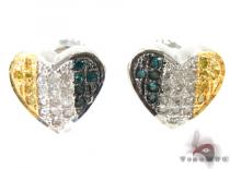 Tri-Color Heart Diamond Earrings Sterling Silver Earrings for Women