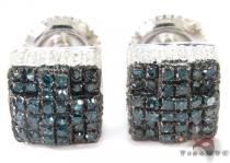 Blue and White Color Diamond Cube Silver Earrings 27311 Sterling Silver Earrings