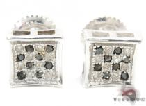 Black and White Color Micro-pave Diamond Silver Earrings 27315 Metal