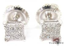 Micro-pave Diamond Square Silver Earrings 27317 Sterling Silver Earrings
