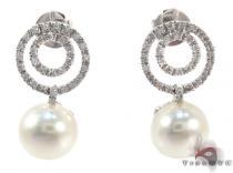 Dangle Diamond White Pearl Earrings パール ダイヤモンドイヤリング 真珠