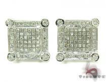 Bezel and Prong Diamond Earrings 27348 シルバーイヤリング