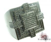 Silver Black Diamond Ring 27414 Metal