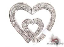 Dual Heart Silver Diamond Pendant Sterling Silver Charms