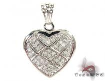 Love Jail Silver Diamond Heart Pendant Sterling Silver Charms