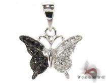 Butterfly Silver Black and White Diamond Pendant 27478 Sterling Silver Charms