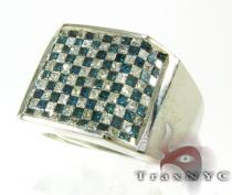 Blue Checkered Diamond Ring Mens Diamond Rings