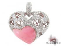 Strawberry Heart Diamond Gemstone Pendant Diamond Heart Pendants