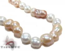 White and Pink Color Pearl Long Necklace 27609 パールネックレス
