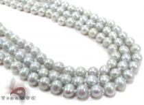 3 Row Emerald Color Pearl Silver Necklace 27613 Pearl