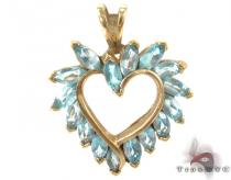 Blue Topaz Heart Pendant Diamond Heart Pendants