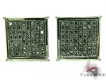 Black Diamond Square Earrings 27622 Stone