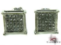 Black Diamond Square Silver Earrings 27624 Sterling Silver Earrings
