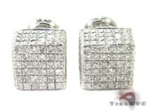Cube Silver Diamond Stud Earrings 27627 Metal
