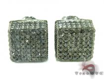 Cube Silver Diamond Stud Earrings 27628 Sterling Silver Earrings