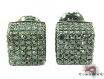 Cube Silver Diamond Stud Earrings 27629 Metal