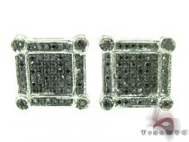 Silver Black Diamond Earrings 27633 Metal