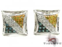 Multi-color Diamond Stud Silver Earrings 27645 Sterling Silver Earrings
