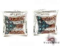 Patriot Silver Diamond Earrings Metal