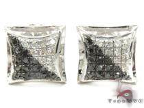 Black and White Color Silver Earrings 27647 Metal