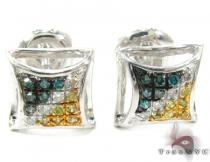 Multi-color Diamond Stud Silver Earrings 27648 Sterling Silver Earrings