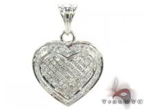 Heart Prong Diamond Silver Pendant 27654 Diamond Heart Pendants