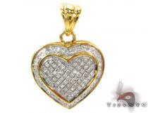 Heart Prong Diamond Silver Pendant 27655 Diamond Heart Pendants