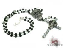 Skull Silver CZ Rosary Chain 28 Inches, 7mm, 87.7 Grams Silver Chains
