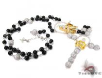 Silver CZ Rosary Chain 22 Inches, 8mm, 49.3 Grams シルバーチェーン