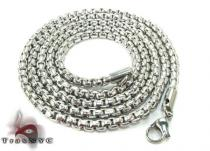 Stainless Steel Round Box Link Chain 24 Inches, 4mm, 27.9 Grams Stainless Steel Chains