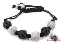 White and Black Crystal Rope Bracelet 27744 Silver