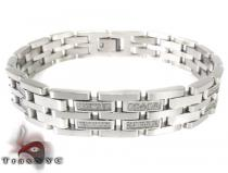 White Stainless Steel CZ Bracelet 27749 Stainless Steel Bracelets