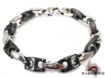 White and Black Stainless Steel Bracelet 27751 Stainless Steel Bracelets
