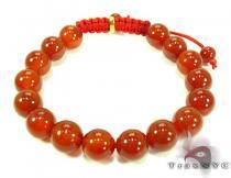 Semitransparent Red Bead Bracelet Silver