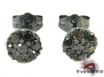 Cluster Black Diamond Stud Earrings Stone