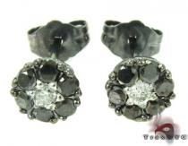 Cluster Two Color Diamond Stud Earrings Black Diamond Earrings