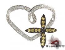 Heart Flower Yellow Sapphire & Diamond Pendant Stone
