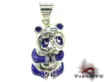 Purple Enamel Panda Pendant Sterling Silver Charms