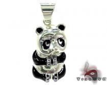 Custom Black Enamel Panda Pendant シルバーチャーム