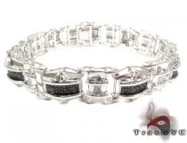 Black and White Diamond Silver Bracelet Sterling Silver Bracelets