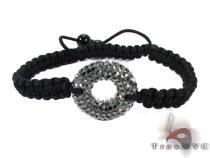 Rope Black Crystal Bracelet Silver & Stainless Steel
