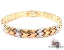 14K Three Tone ZigZag Bracelet Gold