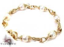 14K Yellow Gold & Pearl Bracelet Gold Bracelets