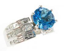 Custom Blue Topaz Ring ジェムストーン ダイヤモンド リング